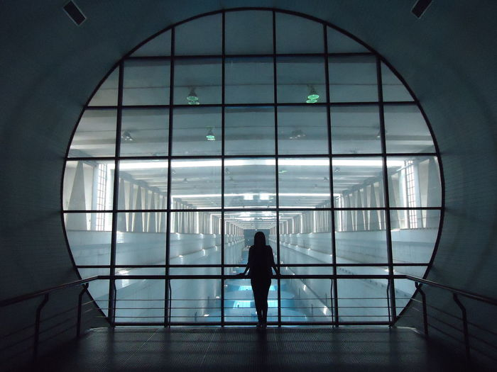 Silhouette Woman Standing Modern Building