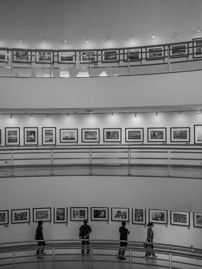 Architecture Art Art Gallery Beautifully Organized Black & White Black And White Blackandwhite Built Structure Catch The Moment Dead Education EyeEm Best Shots - Black + White Four People Indoors  Inside King Lines Pictures On The Wall Street Photography Streetphotography Thailand Three Floors