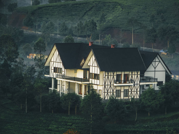 House amidst trees and buildings in forest