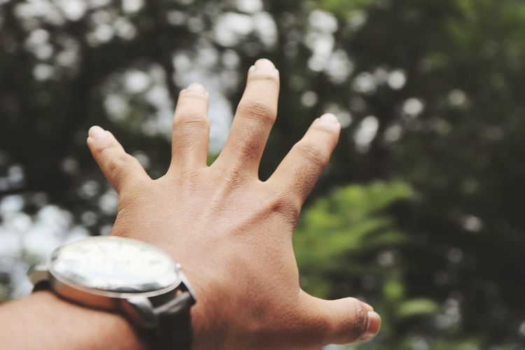Cropped hand of man wearing wristwatch gesturing outdoors