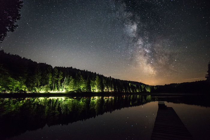 Astronomy Beauty In Nature Constellation Galaxy Lake Landscape Light And Shadow Lighttrails Milky Way Mountain Nature Night No People Outdoors Reflection Reflections Scenics Sky Star - Space Star Field Starry Tranquil Scene Tranquility Tree Water