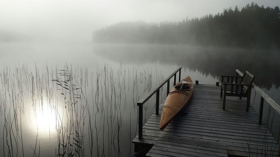 Nordic Light The Purist (no Edit, No Filter) Water Forest Foggy Morning Misty Morning Mist Fog Tranquility Kajak Boat Grey Color No People Outdoors Beauty In Nature Autumn Fall Beauty Water_collection Lake View Nature_collection Nature The Great Outdoors - 2017 EyeEm Awards