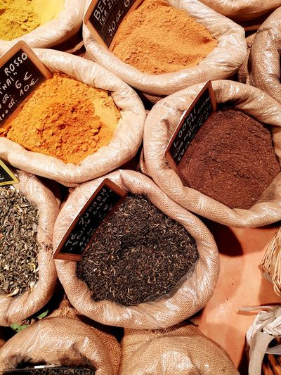 spice Spice Market Spice Collection Spice Genova Curry EyeEm Selects Backgrounds Full Frame Market Sack High Angle View Close-up For Sale Market Stall Various Shop The Still Life Photographer - 2018 EyeEm Awards