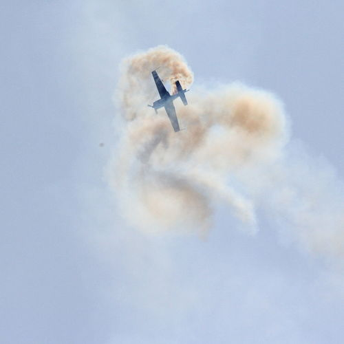 Aerobatics Air Vehicle Airplane Airshow Cloud - Sky Day Fighter Plane Flying Low Angle View Mid-air Military Airplane Mode Of Transport Motion No People Outdoors Performance Skill  Sky Smoke - Physical Structure Speed Teamwork Transportation Vapor Trail