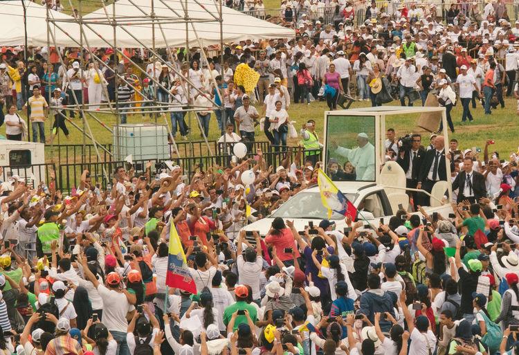 Colombia El Papa El Papa En Colombia PAPA FRANCESCO Papa Francisco Pope Villavicencio Villavicencio Meta Adult Adults Only Crowd Day High Angle View Large Group Of People Men People Pope Francis  Spectator Sport Watching