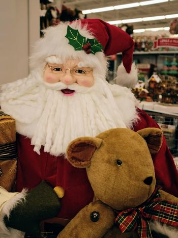 Visual Journal November 2017 Lincoln, Nebraska A Day In The Life Art Store Camera Work Christmas Shopping Everyday Lives EyeEm Gallery FUJIFILM X100S Here Comes Santa Claus Santa Santa Claus Shopping Statue Visual Journal Always Taking Photos Childhood Christmas Decoration Christmastime Close-up Day Doll Home Interior Human Representation Indoors  No People Photo Diary Retail  Stuffed Toy Teddy Bear Toy