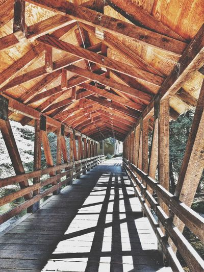 Built Structure No People Sunlight Architecture Outdoors Day Nature Freshness Colorado Avon,CO Wood - Material Wooden Bridge Wooden Structure