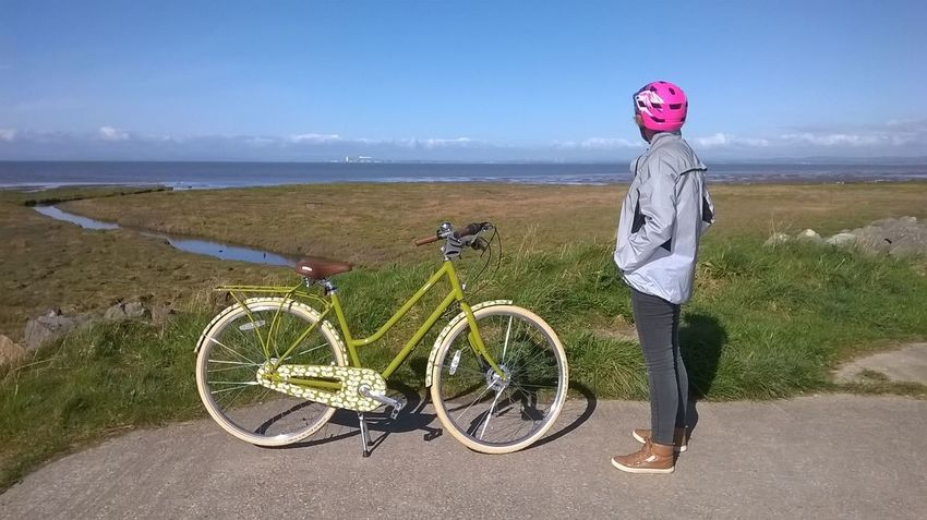 A Girl And Her Bicycle Beach Beauty In Nature Bicycle Cycling Cycling Helmet Full Length Headwear Healthy Lifestyle Heysham Power Station Horizon Over Water Hybrid Bicycle Lancashire UK Leisure Activity Lifestyles Mode Of Transport Morecambe Bay  One Person One Woman Only Orla Kiely Bicycle Outdoors Pedal Pilling Sands Power Station Sea Transportation The Great Outdoors - 2018 EyeEm Awards