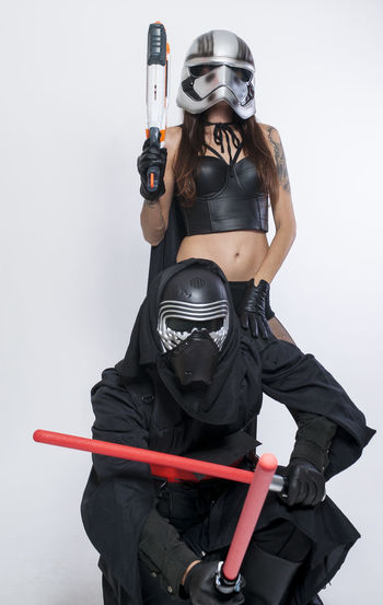 Black Color Camera - Photographic Equipment Casual Clothing Cosplay Cosplay Shoot Leisure Activity Lifestyles Portrait Star Wars Studio Shot White Background