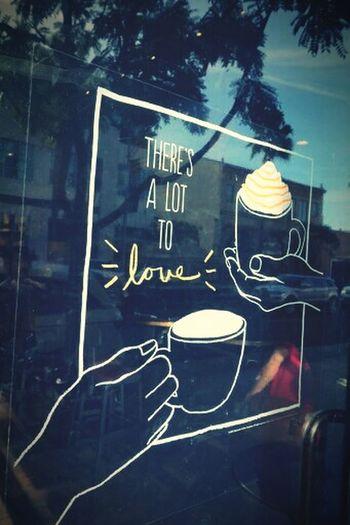 Losangeles Window Art Starbacks Coffee Valentine's Day