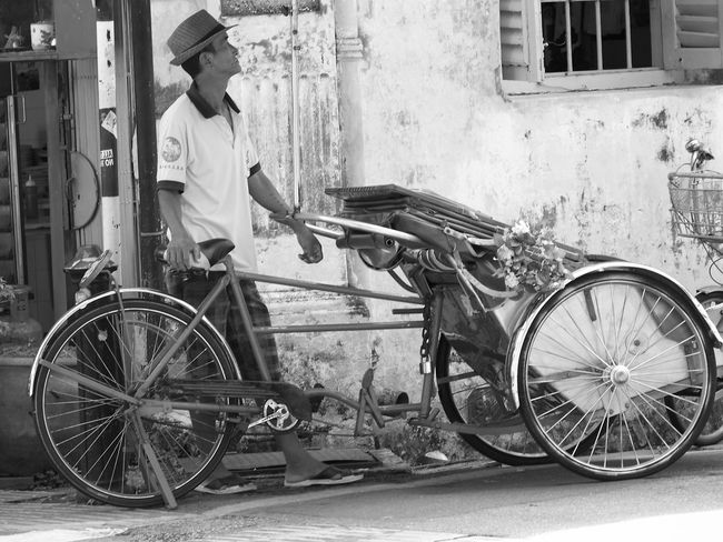 One man Rickshaw drover waiting for Customers. Blackandwhite Photography Day Men Mode Of Transport Outdoors Rickshaw Rickshawride Waiting Someone To Stay Beside Me