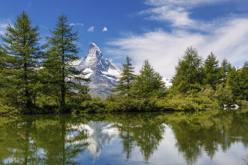 Panoramic view of Swiss Alps and Matterhorn Mountains near Zermatt area. Small lake in the middle of the mountains with beautiful mountain reflection in it , Switzerland Matterhorn  Reflection Zermatt Beauty In Nature Cloud - Sky Coniferous Tree Day Growth Idyllic Lake Mountain Nature No People Non-urban Scene Outdoors Plant Reflection Scenics - Nature Sky Swiss Switzerland Tranquil Scene Tranquility Tree Waterfront
