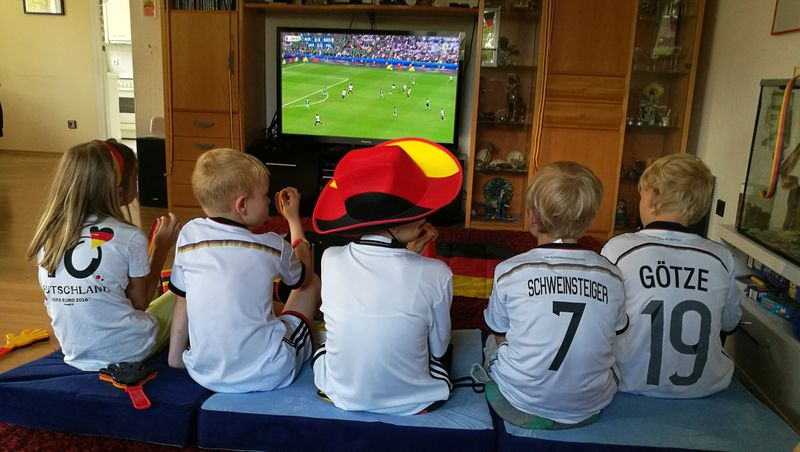 Football Fever Kids Having Fun Watching Tv Children Fans GermanyEuropian Championship Fußball EM 2016 Black Red Gold People Together Fashion EyeEm Gallery People And Places Enjoy The New Normal What Who Where Always Be Cozy
