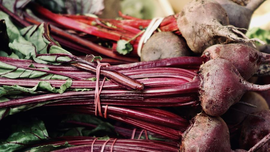 Close-up of common beets at market