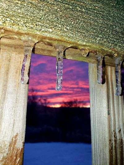 Icicle Winter Sunset Water Hanging Close-up Sky Frozen