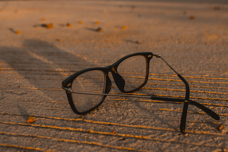 Close-up of eyeglasses on table