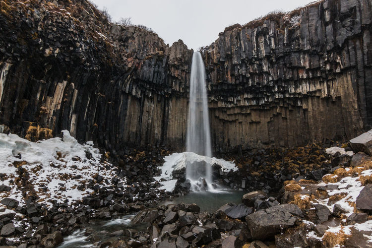 Iceland Basaltic Rock Beauty In Nature Black Water Day Flowing Flowing Water Formation Long Exposure Motion Nature No People Outdoors Power In Nature Rock Rock - Object Rock Formation Scenics - Nature Solid Svartifoss Travel Destinations Water Waterfall Winter