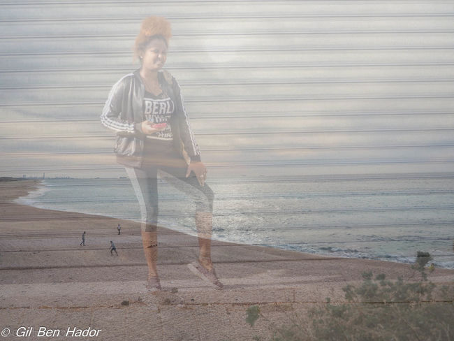 Beach Front View One Person One Young Woman Only Outdoors Photo Montage Sea Sunset EyeEmNewHere Cut And Paste