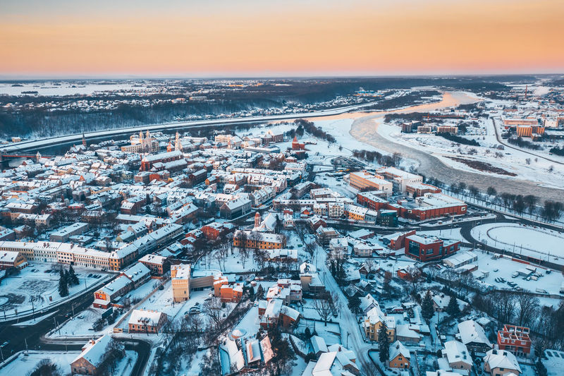 Kaunas old town, winter morning Aerial View Aerial Aerial Photography Drone Photography Drone  Mavic 2 Mavic 2 Pro Lithuania Lietuva Winter Wintertime Europe Kaunas Old Town Winter Morning Sunrise Snow White Roofs Old Town Building Exterior City Architecture Built Structure Cityscape High Angle View Transportation Sky Residential District Cold Temperature Building No People Nature Road Outdoors