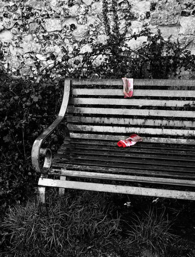 These socks needed to be highlighted to make them centre stage Bench Darkness And Light Day Dirty Forlorn Grunge Lost Monochrome Selective Color Socks Winchester Telling Stories Differently