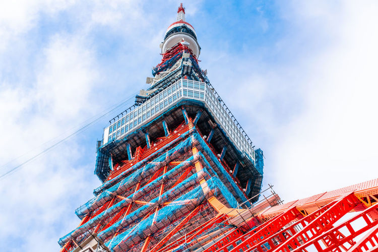 Asia Business concept for real estate and corporate construction - looking up view under construction for 2020 in tokyo, japan Tokyo Tower Under Construction 2020 Modern Architecture ASIA Engineering Red Color Steel Blue Sky Structure Tourism Tourist Attraction  Japanese  Famous Landmarks Observation Point Diminishing Perspective Bottom Angle Close Up Looking Up Clear Sky Morning Light Summer Travel Urban Skyline Texture