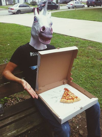 What we do at lunch. Unicorn Head Special Pizza Just Chilling