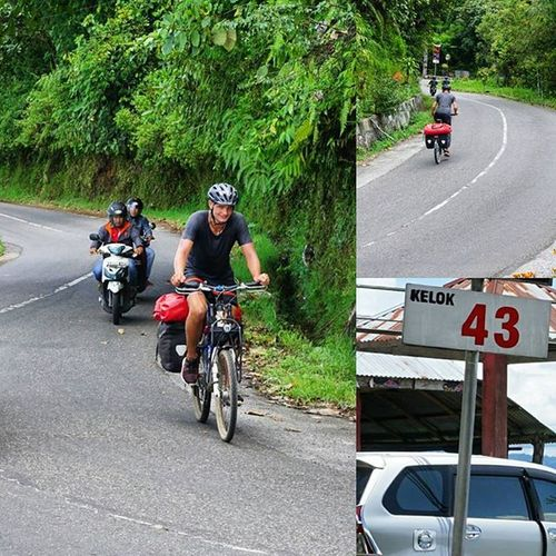 This guy really amazing. He drove his Bicycle at Kelok44 Bukittinggi . He started from Kelok1 thru Kelok44 . the road really Narrow and the Mountain really high. When i took this Photo , he already at Kelok43 . he almost Finish it. Big Applause to him. Sallute Padang SumateraBarat Sumatera INDONESIA Bicycles Bicycling
