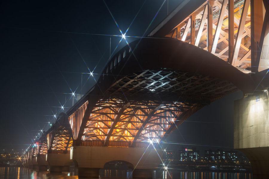 night view of Seongsandaegyo at Hangang in Seoul, South Korea Architecture Bridge Built Structure City Hangang Illuminated Indoors  Low Angle View Night No People Seongsandaegyo