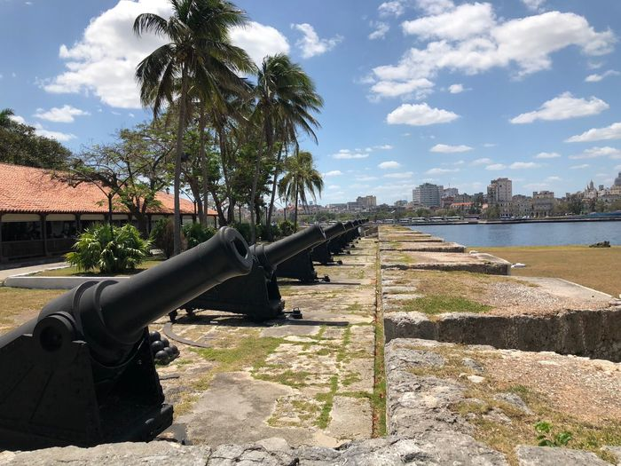 Sky Palm Trees Spain Fort Daylight Havana Harbour Cannons