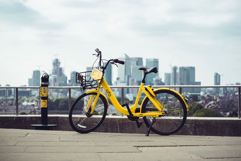 London bike sharing life Ofo Bicycles Greenwhich Transportation Bicycle City Mode Of Transportation Land Vehicle Architecture Street Cloud - Sky Built Structure Sky Road