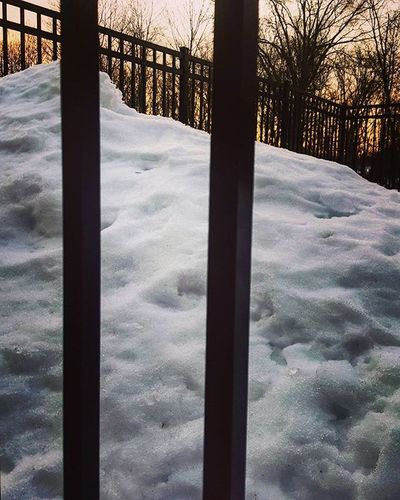 That winter I spent in prison brrrrr Justkidding Fence Snow Cold Sunrise Prison Winterprison