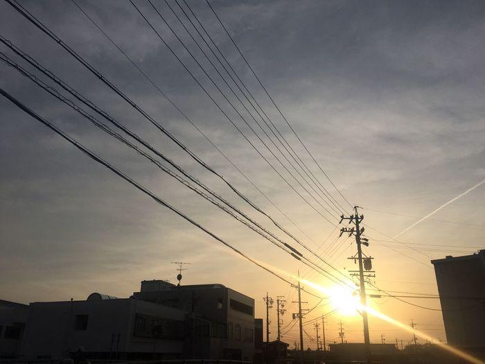 夕陽 夕焼け Sunset 空 Sky 電線 Electric Wires