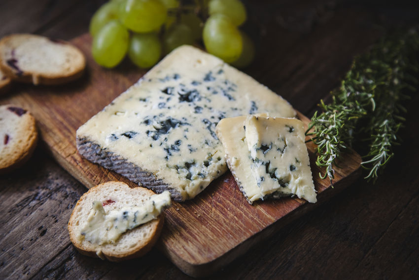 Blue Cheese Bread Cheese Cutting Board Dairy Product Food Food And Drink French Food Freshness Fruit Healthy Eating Indoors  No People Roquefort Rustic Style Still Life Table Wellbeing Wood - Material