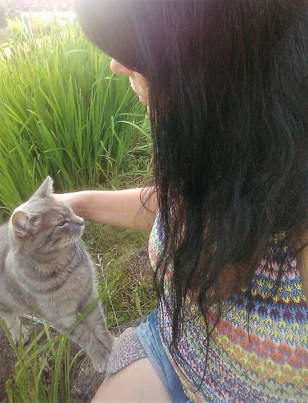 Cat Lovers Day Grass Human Hair One Person People Pets Women
