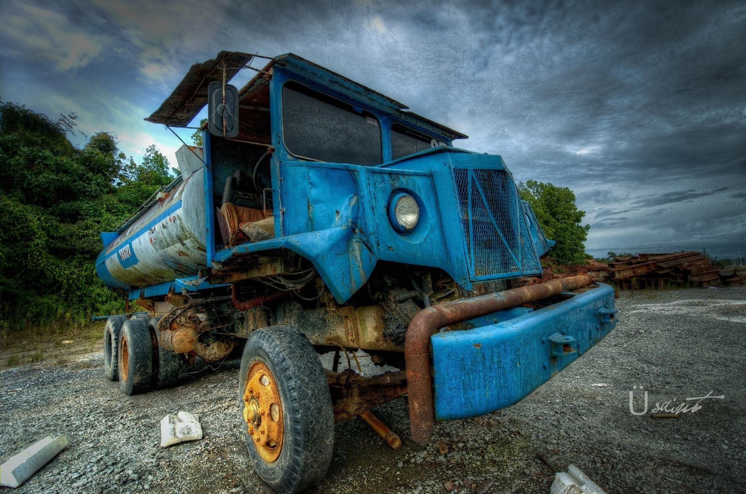 abandoned, obsolete, damaged, transportation, sky, mode of transport, run-down, old, deterioration, rusty, land vehicle, cloud - sky, bad condition, weathered, field, broken, stationary, no people, outdoors, moored
