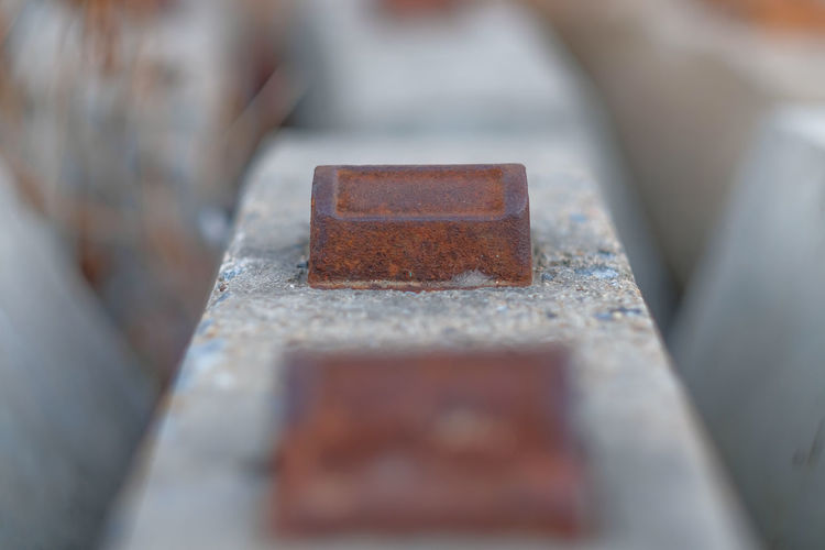 High angle view of rusty metal in container