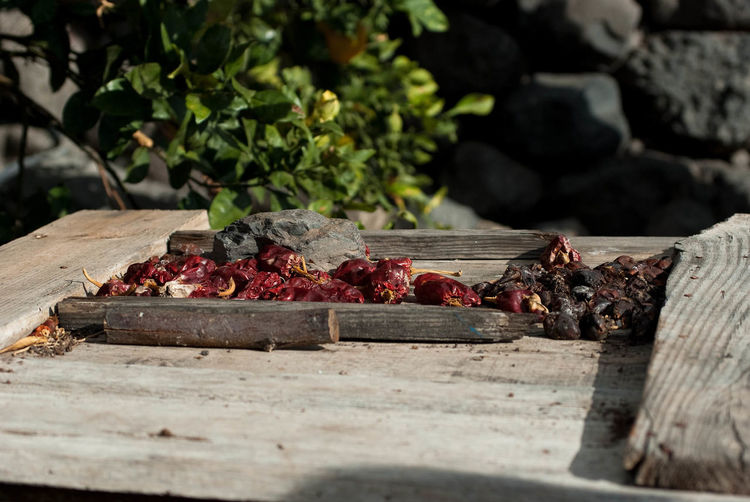 Dry red chili peppers on wooden table during sunny day