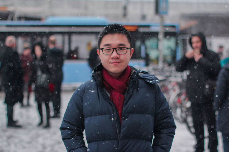 Snowy Days Winter Eyeglasses  Glasses Front View Clothing Portrait Warm Clothing Standing Real People Lifestyles Focus On Foreground Snow Snowing Scarf Asian  Asian Guy Beauty In Nature Munich Germany Winter Clothes Selfie Self Portrait Travel Traveling Jacket