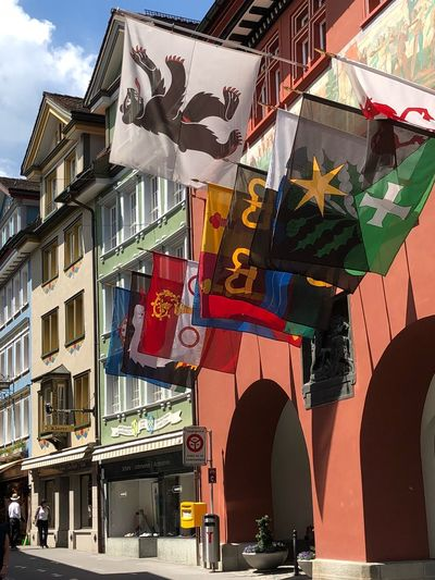 Switzerland Appenzell Village Appenzell EyeEm Selects Building Exterior Architecture Built Structure Building City Day Flag Sunlight Street Multi Colored