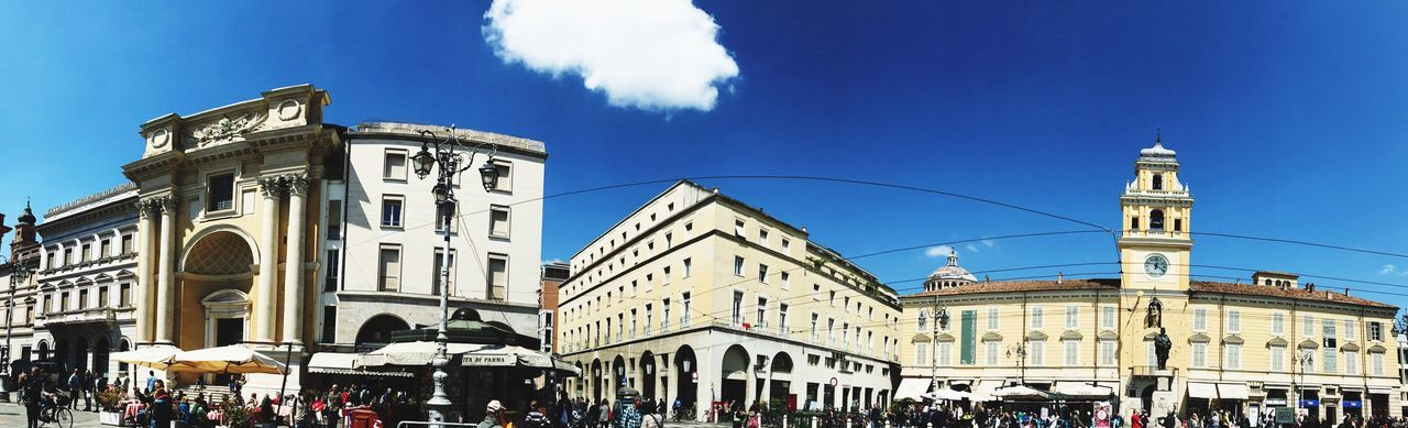 Building Exterior Architecture Built Structure Large Group Of People Real People Blue Men Sky Day Outdoors Cloud - Sky Travel Destinations Women City Crowd Clock People Parma Centro Garibaldi