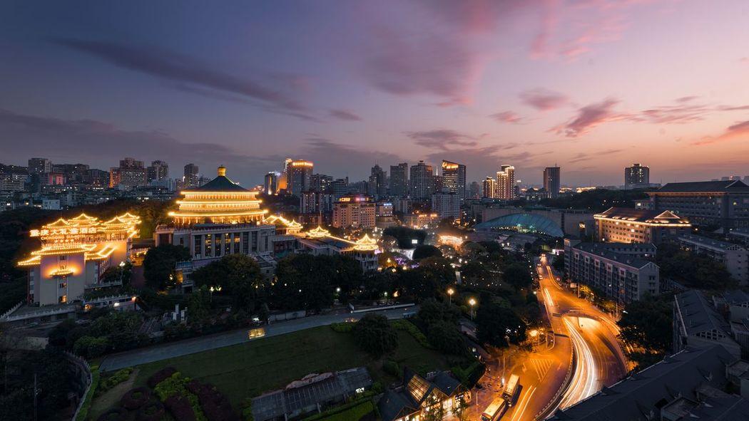 重庆人民大会堂 China Chongqing Architecture Cityscape Building Exterior City Illuminated Built Structure Urban Skyline Night Sunset No People Outdoors The Graphic City Mobility In Mega Cities
