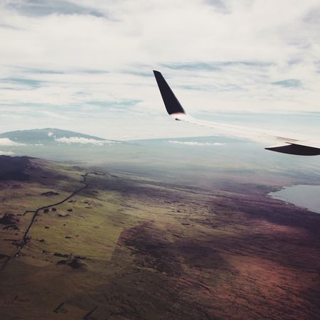 Airplane Aerial View Journey Flying Sky Airplane Wing Landscape Cloud - Sky Nature Aircraft Wing No People Beauty In Nature Hawaii Traveling Flight Exploring Landing Let's Go. Together.