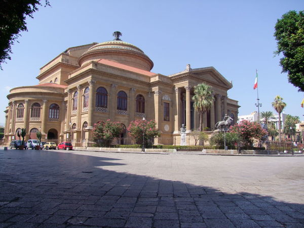 "Theatre Massimo (featured in the tim ""Godfather"") Architecture Blue Sky Building Exterior Built Structure Capital Cities  City Composition Day Dome Entertainment Façade Famous Place History International Landmark Italy Old Town Outdoor Photography Outdoors Palermo Sicily Spirituality Theatre Tourist Attraction  Town Square"