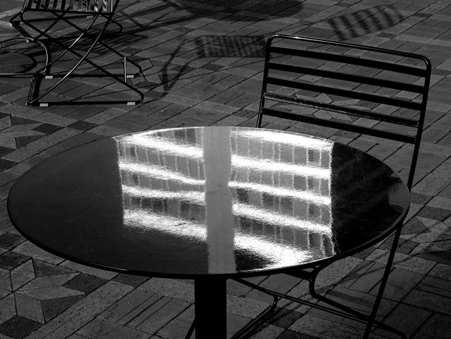 Architecture Reflection Absence Building Chair Close-up Day Empty Flooring Footpath High Angle View Illuminated Indoors  Nature No People Pattern Shadow Sunlight Table Urban Visual Creativity Focus On The Story #urbanana: The Urban Playground