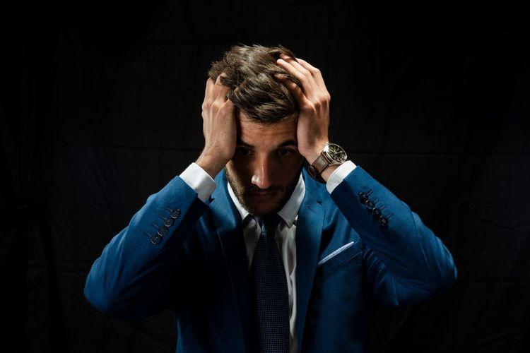 Close-up of tensed businessman