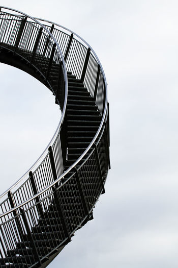 Architecture Built Structure Close-up Cloud - Sky Curved  Day In And Out Low Angle View Metal Neutral Background No People Outdoors Sky Stairs Stairway Stairway To Heaven Unusual Go Higher