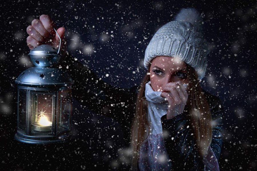 Winter Photography Photo Makeup Day Women Happy Lanter Light Cap People Cool Night One Woman Only One Person