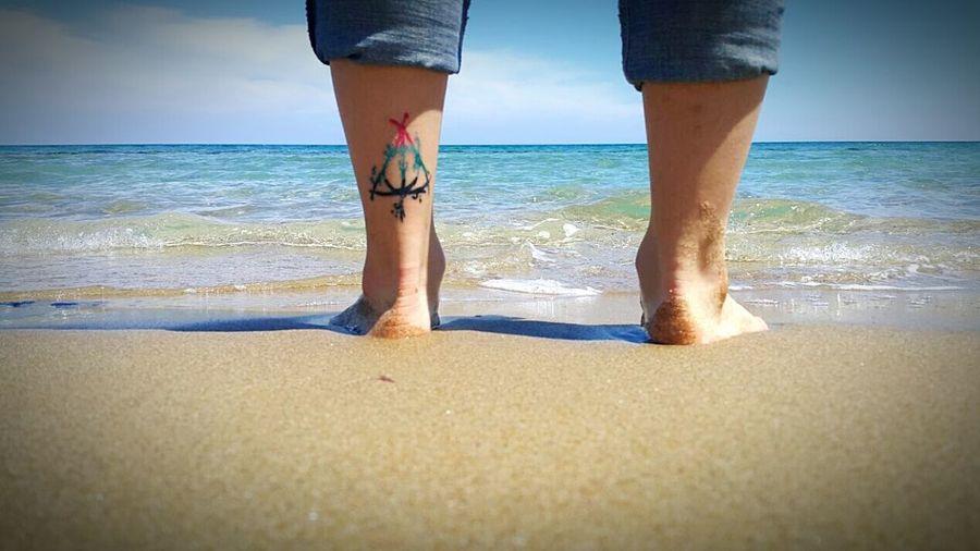 Tattoo Life Sea Beachphotography Sky Bluelovers Jean Tattoo Tattoos Colour Tattoo  Deathlyhallows Deathlyhallowssymbol Perfect Cool Photography