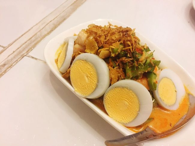 Egg salad No People Egg Salad Thai Style Dinner Supper Meal Table Serve Eat Dine Happy Top View