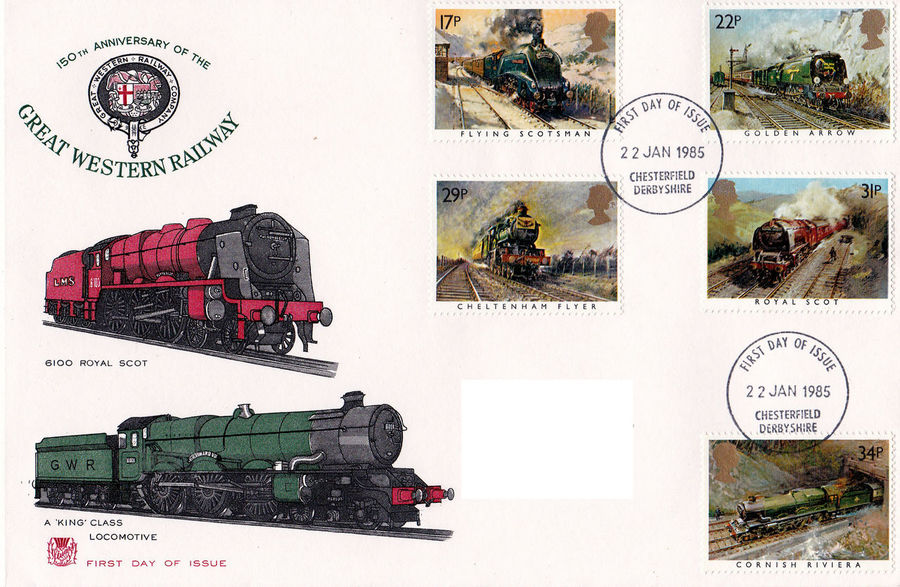 Day Text Indoors  White Background No People Great Western Railway Flying Scotsman Golden Arrow Commemorative Stamps First Day Covers 1835 - 1985 Royal Scot